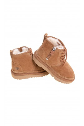 Light brown ankle boots with side zip for boys, UGG