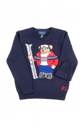 Dark blue boys sweater with the iconic teddy bear, Polo Ralph Lauren