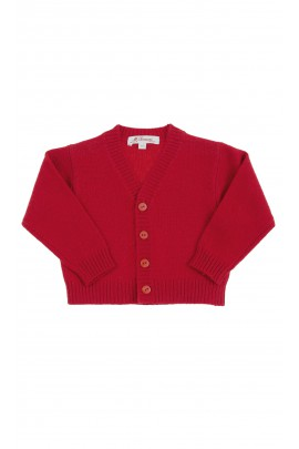 Red cardigan with button front for boys, Mariella Ferrari
