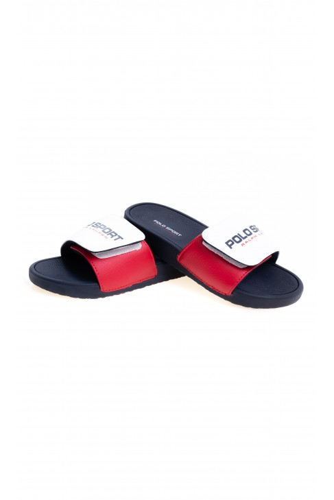 White sandals with a black sole for boys, Polo Ralph Lauren