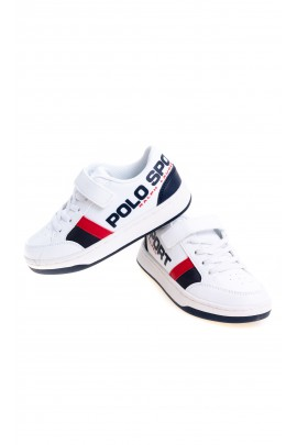 White sports shoes with a side inscription, Polo Ralph Lauren