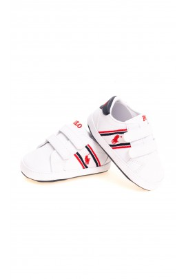 White Velcro baby shoes, Ralph Lauren