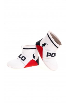 White baby shoes with uppers, Ralph Lauren