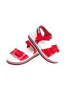 Red sandals on one wide strap for girls, Tommy Hilfiger