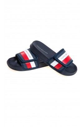 White and red Velcro slippers for boys, Tommy Hilfiger