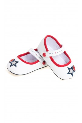 White baby ballerinas for girls, Tommy Hilfiger