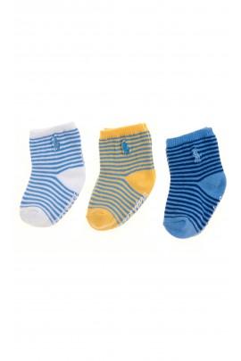 3-pack baby socks, Ralph Lauren, white, yellow and blu