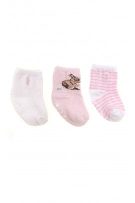 Pink and white baby socks 3-pack, Ralph Lauren