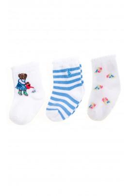 White and blue baby socks 3-pack, Ralph Lauren