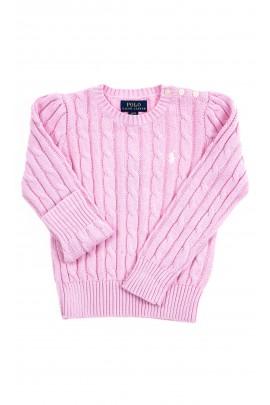 Pink plait sweater for girls, Polo Ralph Lauren