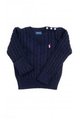 Navy blue plait sweater for girls, Polo Ralph Lauren