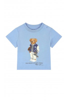 Blue T-shirt with the iconic teddy bear for kids, Polo Ralph Lauren