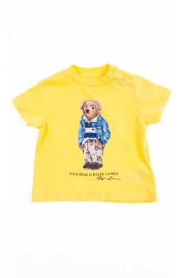 Yellow T-shirt with the iconic teddy bear for kids, Polo Ralph Lauren