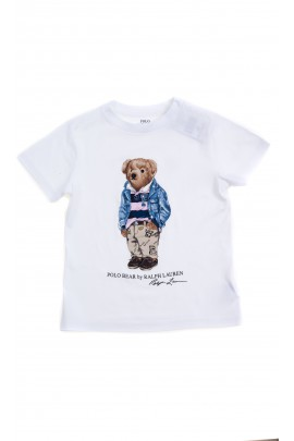 White T-shirt with the iconic teddy bear for kids, Polo Ralph Lauren