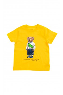 Yellow T-shirt with the iconic teddy bear on the front for boys, Polo Ralph Lauren