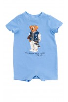 Blue baby rampers with the iconic teddy bear, Ralph Lauren