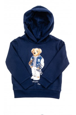 Navy blue sweatshirt with iconic teddy bear on the front, Polo Ralph Lauren