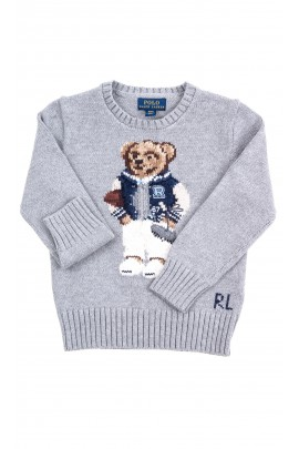 Grey sweater with the iconic teddy bear on the front for boys, Polo Ralph Lauren