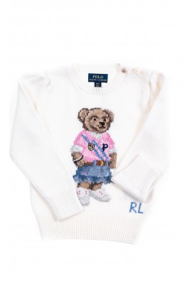 Ecru sweater with the iconic teddy bear for girls, Polo Ralph Lauren