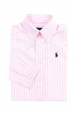 White and pink vertical striped shirt for boys, Polo Ralph Lauren