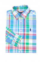 Colourful blue and green checked shirt for boys, Polo Ralph Lauren
