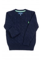 Navy blue cable stitched sweater for boys, Polo Ralph Lauren