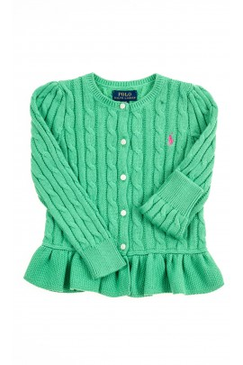 Green cardigan with buttons at the front for girls, Polo Ralph Lauren