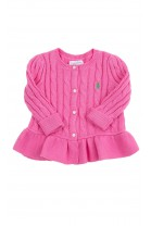 Pink cardigan with buttons at the front for girls, Polo Ralph Lauren
