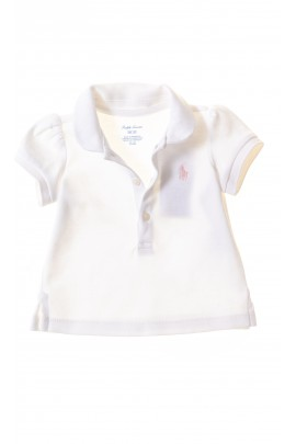 White baby polo shirt for girls, Ralph Lauren