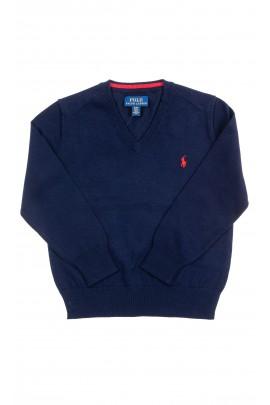 Navy blue V-neck sweater for boys, Polo Ralph Lauren