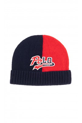 Navy blue and red cap pulled on with a turn-up welt for boys, Polo Ralph Lauren