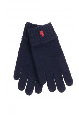 Navy blue 5-finger gloves for boys, Polo Ralph Lauren