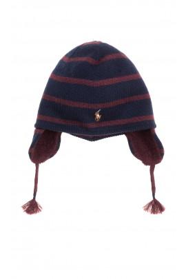 Navy blue and brown striped baby hat, Ralph Lauren