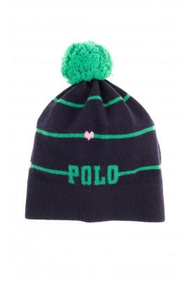 Navy blue pull-on hat with green tassel for girls, Polo Ralph Lauren