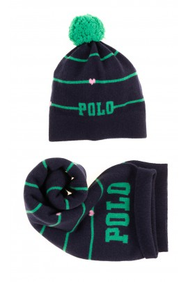 Navy blue double scarf with green stripes for girls, Polo Ralph Lauren