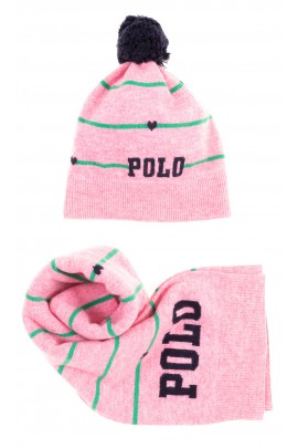 Pink hat with navy blue pompom for girls, Polo Ralph Lauren