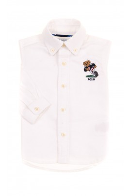 White baby shirt with the iconic teddy bear, Ralph Lauren