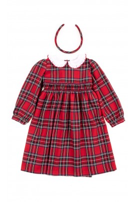 Elegant red checkered dress, Mariella Ferrari