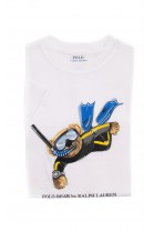 White T-shirt with the iconic teddy bear for boys, Polo Ralph Lauren