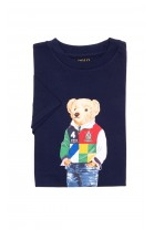 Navy blue T-shirt with the iconic teddy bear for boys, Polo Ralph Lauren