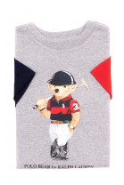 Grey T-shirt with the iconic teddy bear for boys, Polo Ralph Lauren