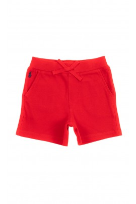 Red cotton shorts for babies, Ralph Lauren