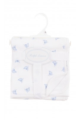 White double-sided blanket with blue patterns, Ralph Lauren