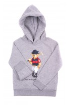 Gray hoodie with the iconic teddy bear, Polo Ralph Lauren