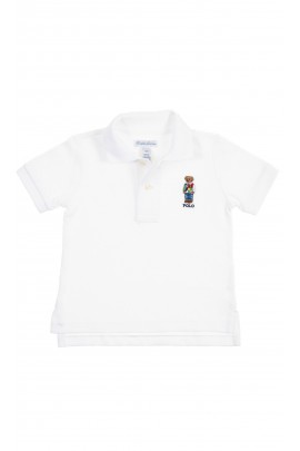 White baby polo shirt with the iconic teddy bear, Ralph Lauren