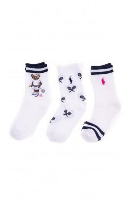 3-pack white patterned socks for girls, Polo Ralph Lauren