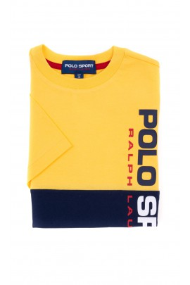 Yellow and navy blue POLO SPORT T-shirt for boys by Polo Ralph Lauren