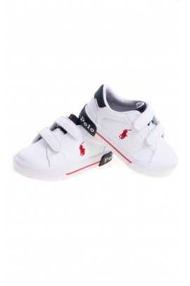 White sneakers for children with Velcro closure, Polo Ralph Lauren