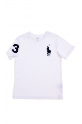 White T-shirt with polo player for boys, Polo Ralph Lauren