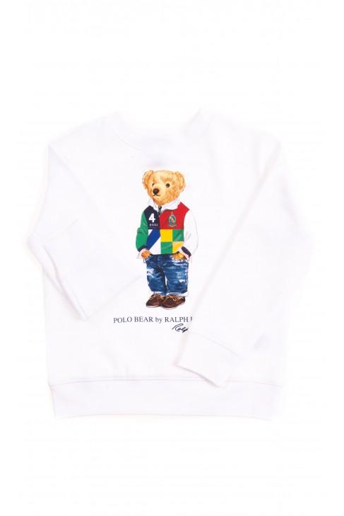 White sweatshirt with the iconic teddy bear, Polo Ralph Lauren